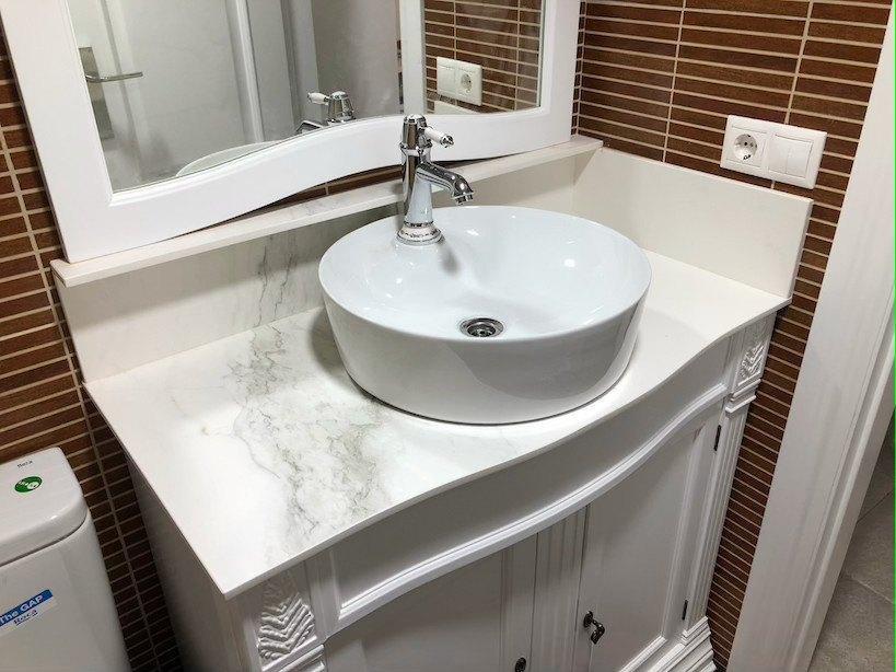 Lavabo piedra blanco
