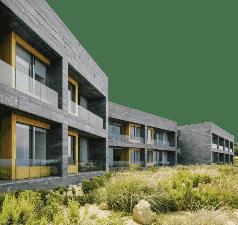Edificio material pizarra